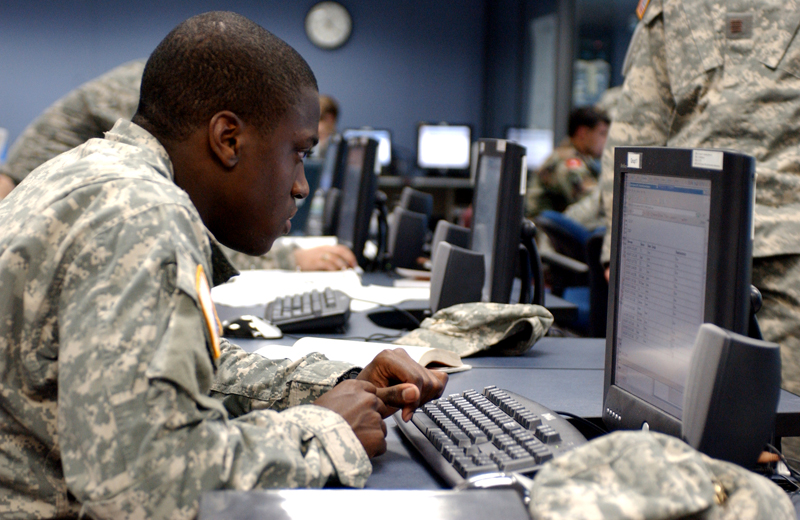 US Army cadet Robert Singley of Ballston Lake, NY watching internet traffic during a Cyber Defense Exercise (CDX) at the United States Military Academy in West Point, NY on Monday, April 16, 2007. Cadet Singley is a deputy CO during the week long, service wide exercise.  © Chet Gordon for Army Times.